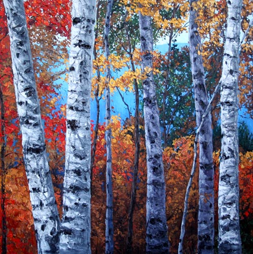 paintings of trees in autumn - photo #33