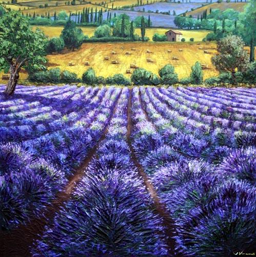 Lavender Romance Lavender Field Painting Contemporary
