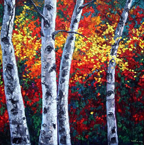 jennifer vranes-美國漂亮女畫家, Vranes喜歡各種季節的白楊樹, 靈感源自古羅馬人的淺浮雕塑, 風景畫作有著厚厚的紋理(第二輯)。。。 - Milk平平.淡淡.也是真  - ☆☆milk 平平。淡淡。也是真 ☆☆