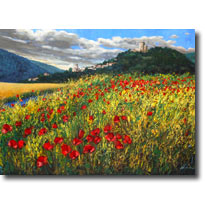 Poppy Paintings, Italian Landscapes, Poppies Art