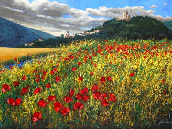 Tuscany Painting Poppy Field Painting ORIGINAL Canvas Artwork Poppies Art Italy Wall Art Landscape Folk Art Whimsical Art Landscape Nature