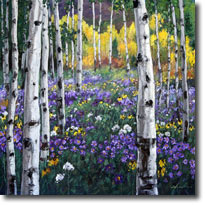 Mountain Meadow - vibrant aspen birchtree landscapes from Jennifer Vranes