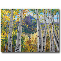 Mountain View - aspen art birches pantings