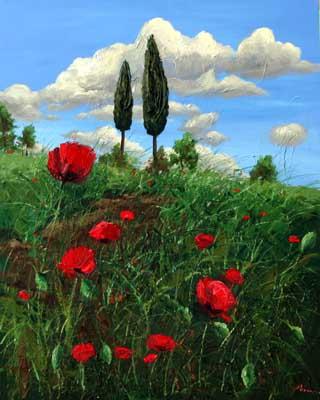 Jennifer Vranes 05E070_poppies_and_cypress_trees