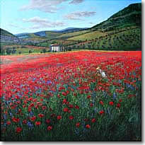 Poppy Paradise - Poppies Italian Landscapes by Tuscan Artist Jennifer Vranes